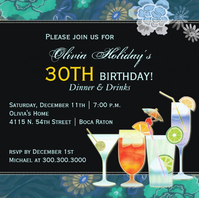 cocktail 30th birthday party invitation card