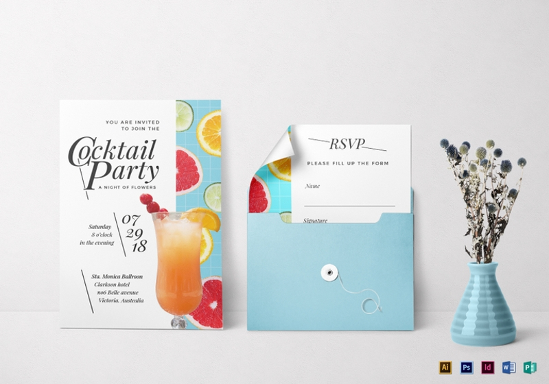 cocktail party invitation card in landscape and portrait style