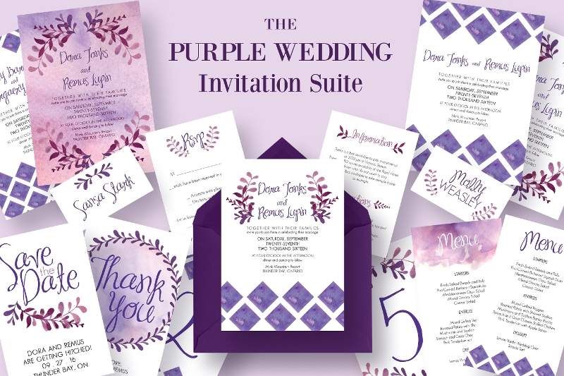 collection of purple wedding invitation