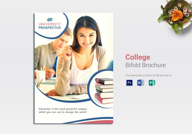 college bi fold brochure template