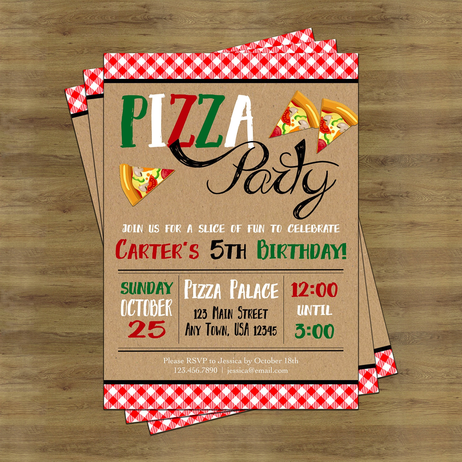 colored pizza party invitation