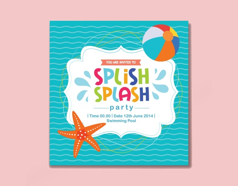 colored summer party invitation