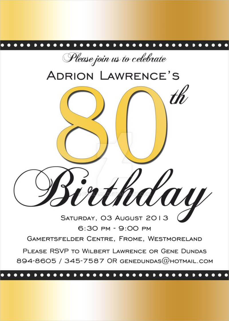 colorful 80th birthday invitation