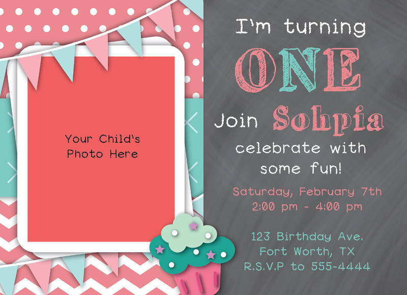 colorful baby birthday invitation