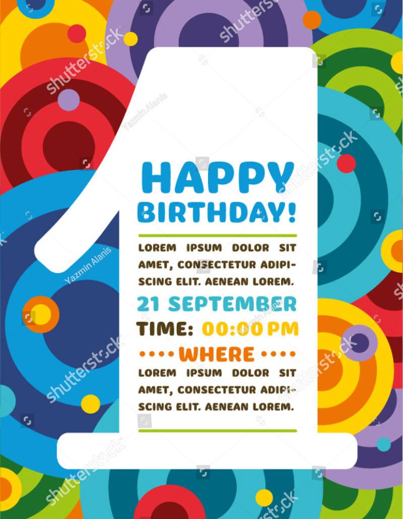 colorful baby boy 1st birthday invitation