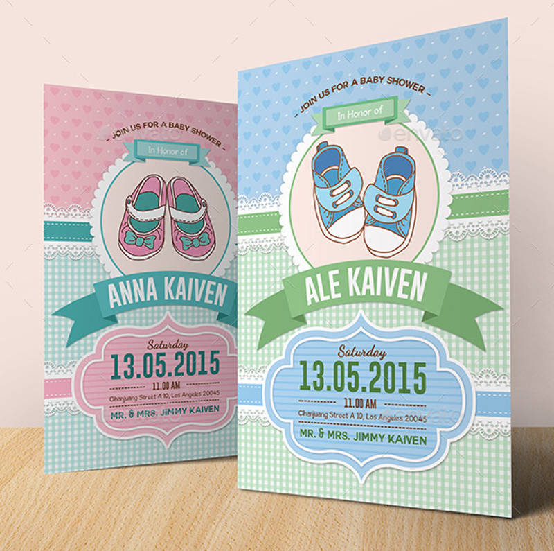 colorful baby girl shower invitation design