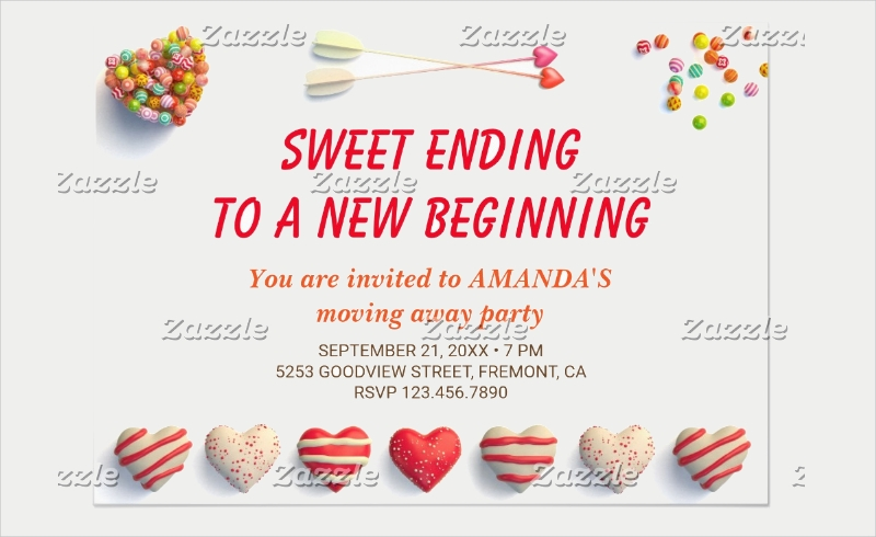 colorful candies farewell party invitation