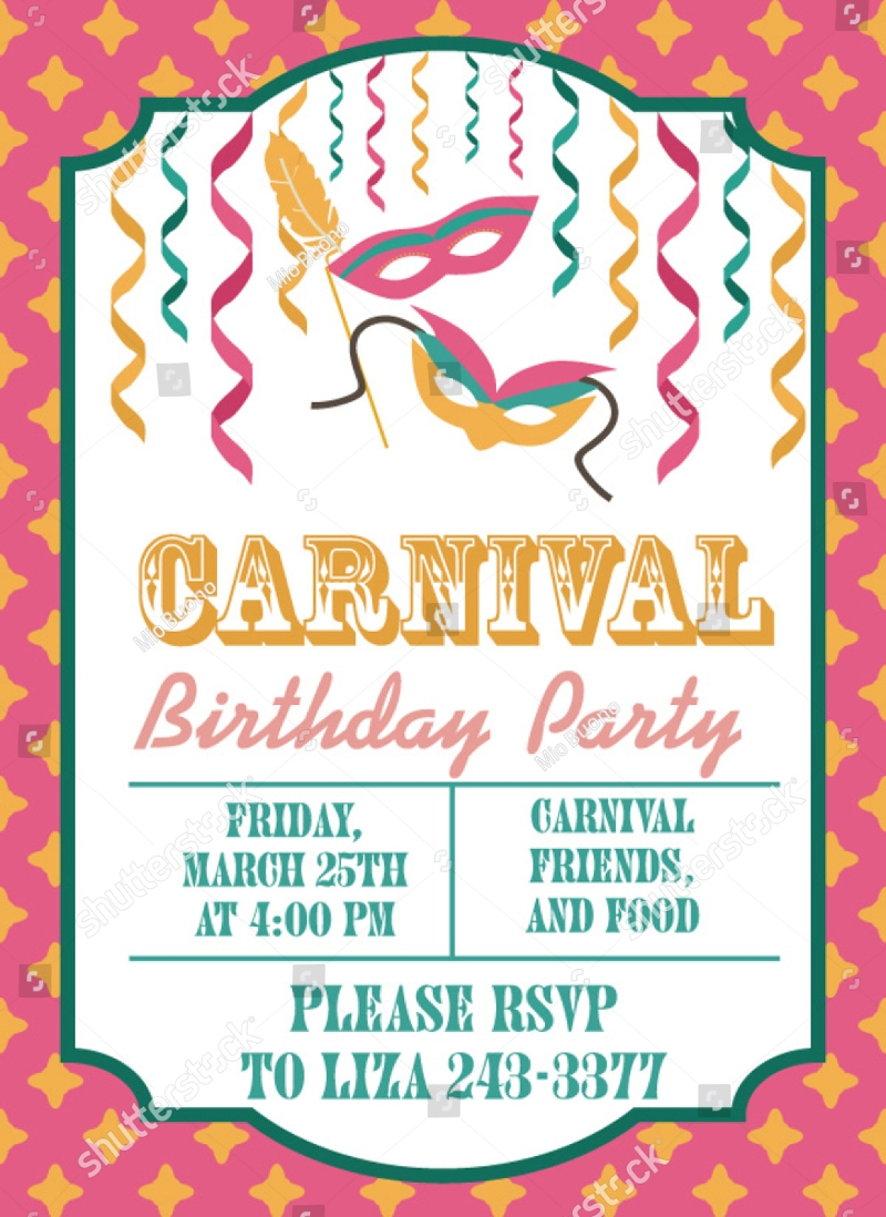 colorful carnival birthday invitation