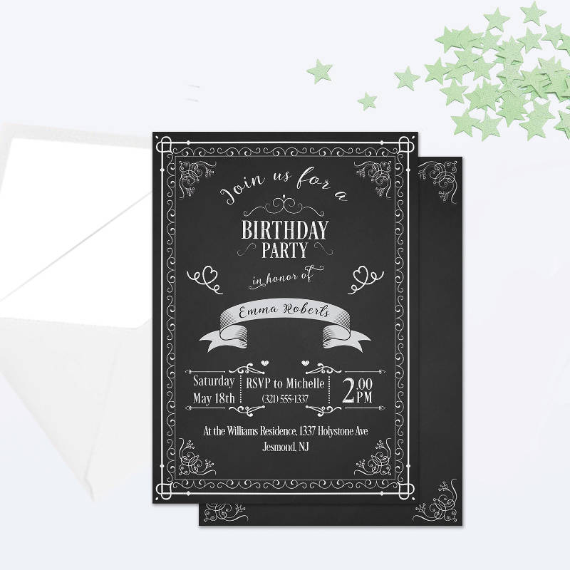 colorful chalkboard birthday party invitation