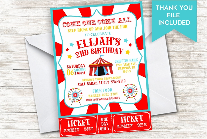 colorful circus birthday invitation