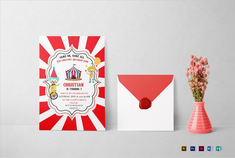 colorful circus box birthday invitation