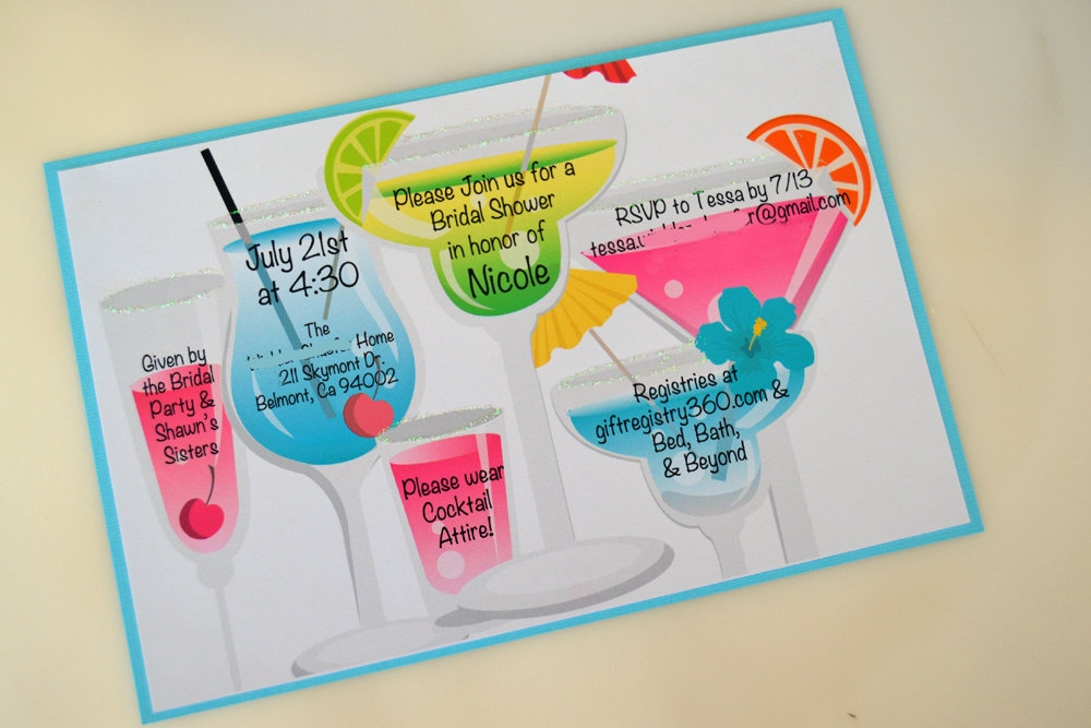 colorful cocktail party invitation