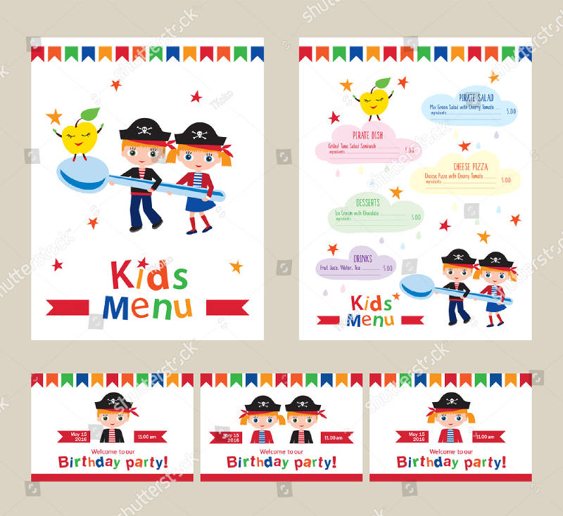 colorful double birthday party invitation