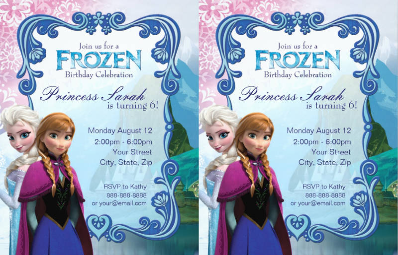 colorful frozen birthday party invitation