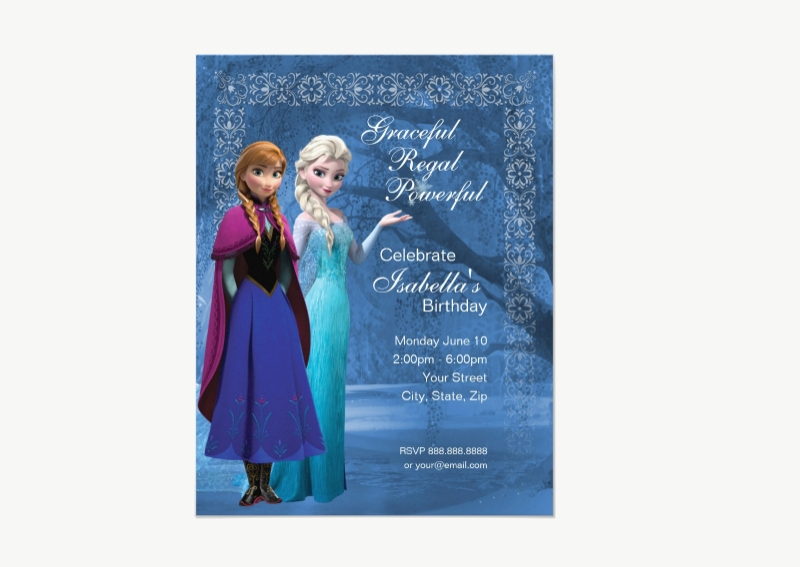 colorful frozen party invitation