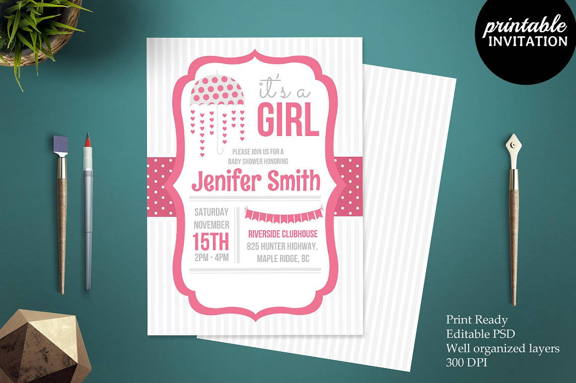 colorful girl baby shower invitation template