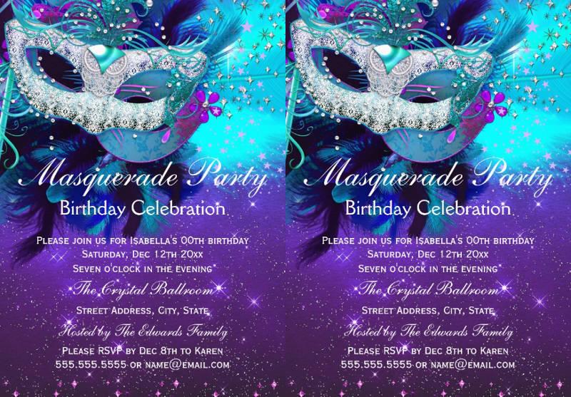 colorful masquerade birthday card