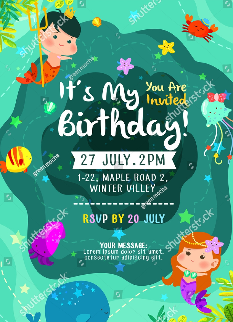 colorful mermaid birthday invitation