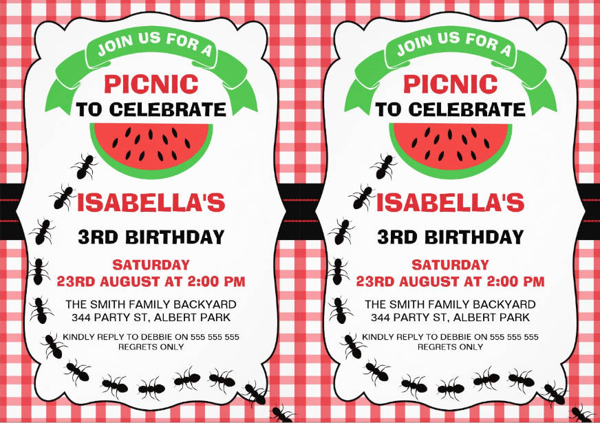 colorful picnic birthday party invitation