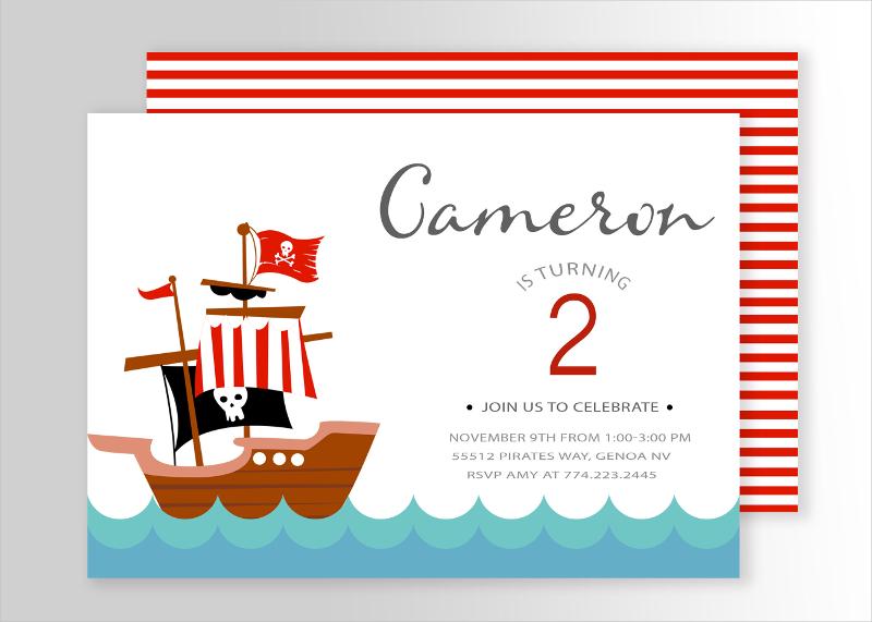 colorful pirate birthday invitation