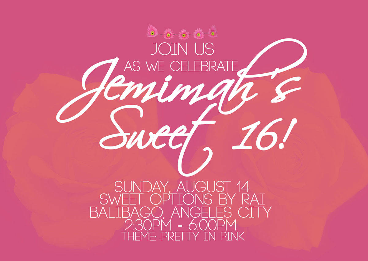 colorful sweet sixteen invitation