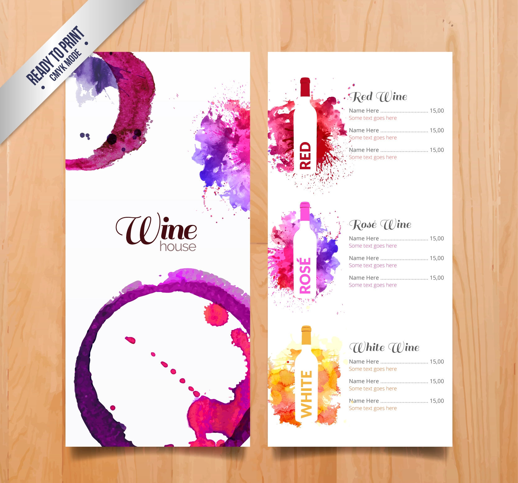 Colorful Wine Menu