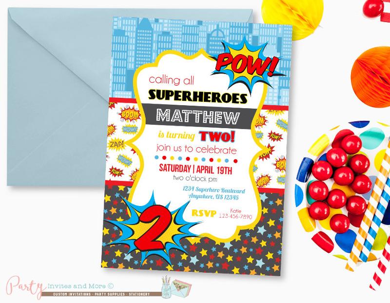 comic superhero birthday invitation