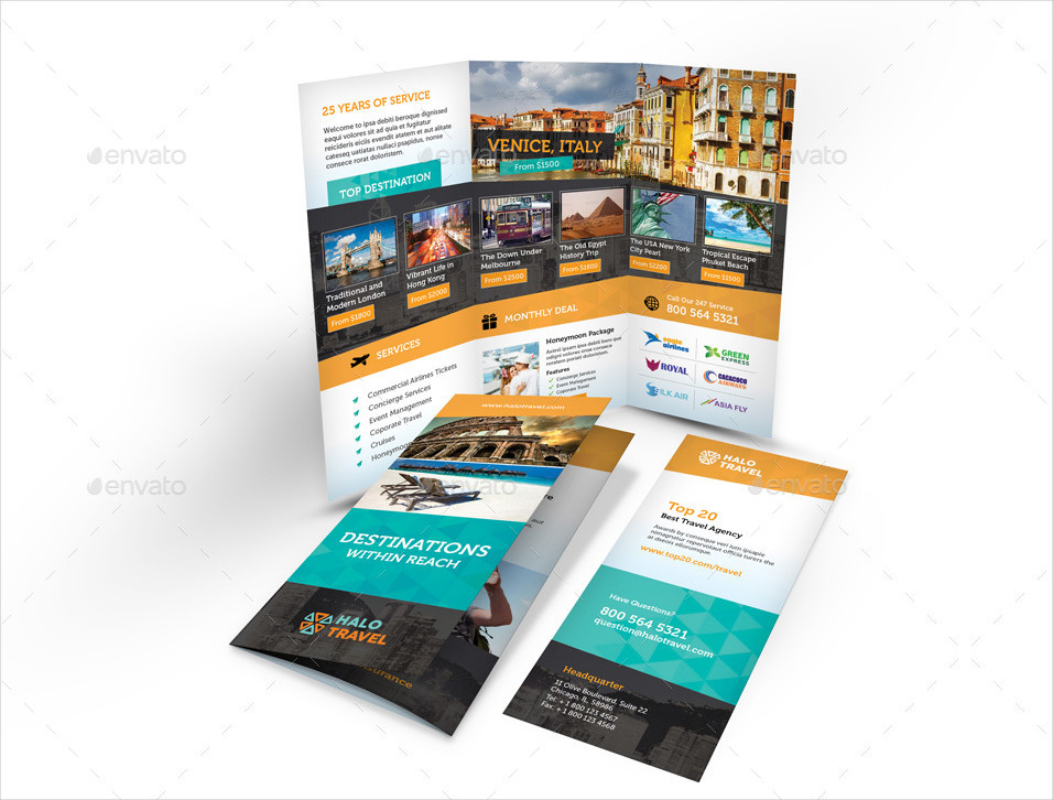 company travel agency trifold brochure