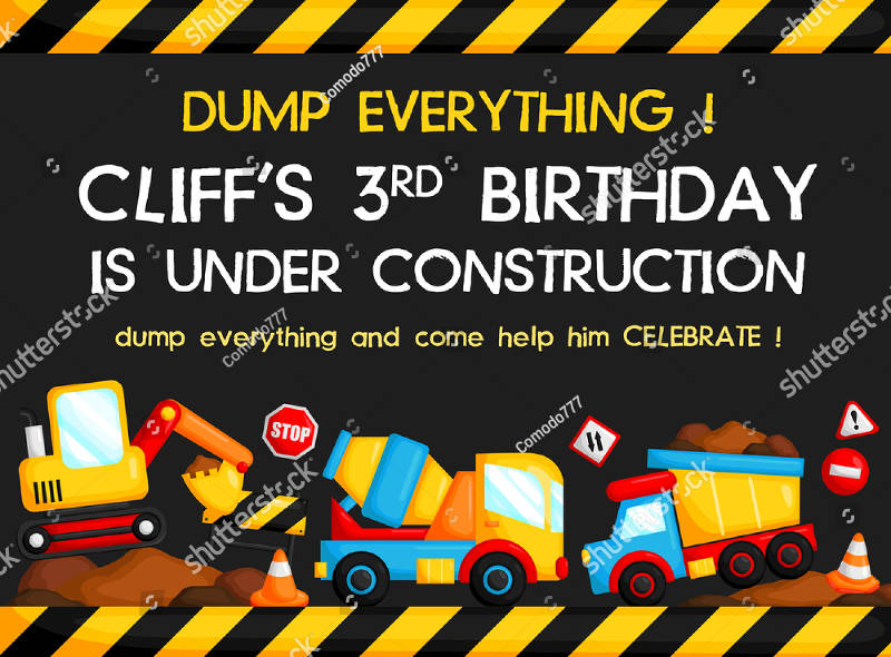 construction birthday invitation download