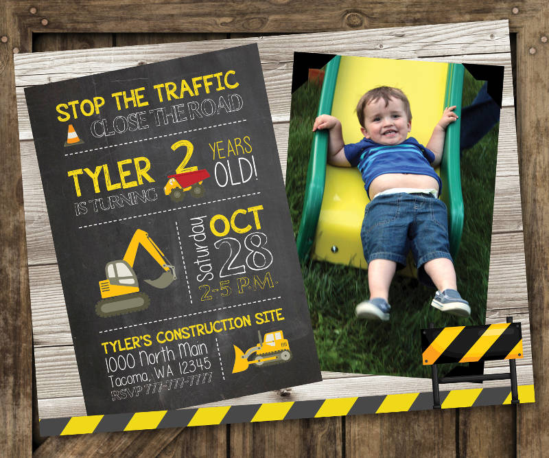 construction boy birthday invitation