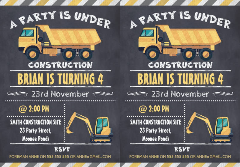 construction chalkboard birthday invitation