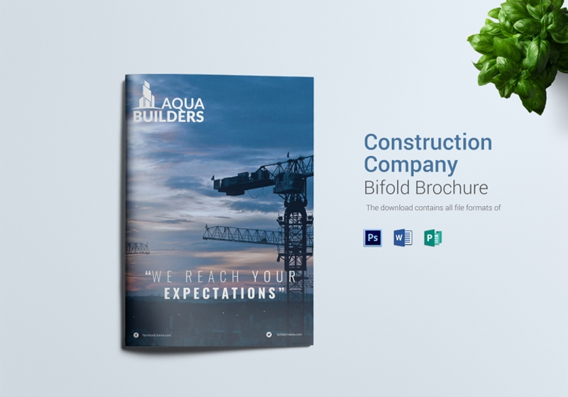 construction company bi fold brochure template