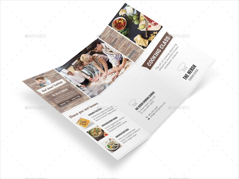 cooking class school trifold brochure