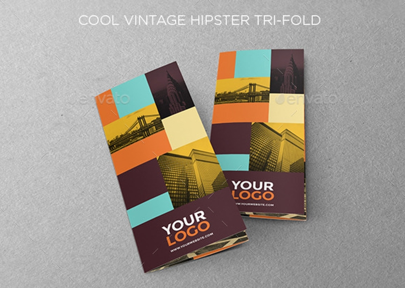 cool vintage hipster trifold