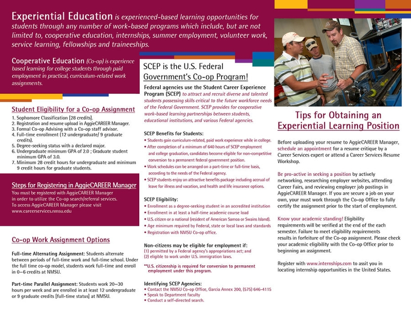 cooperative education and internship brochure back