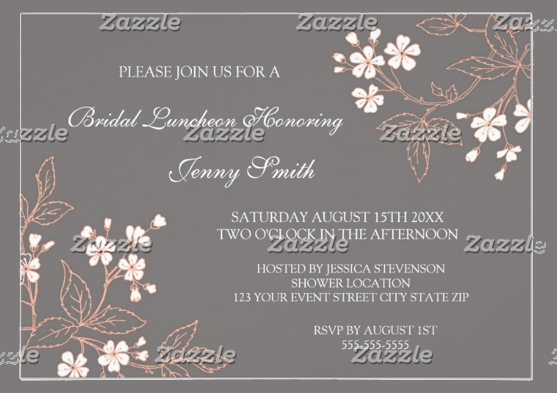 coral gray floral bridal lunch invitation card