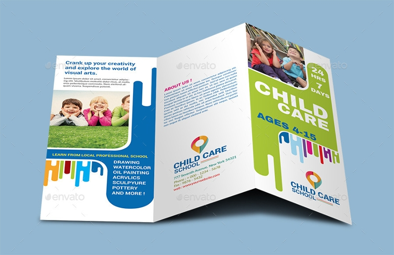 corporate child care school trifold brochure