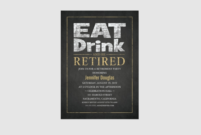 corporate funny retirement party invitation