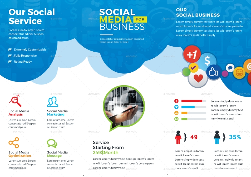 corporate social media trifold brochure template