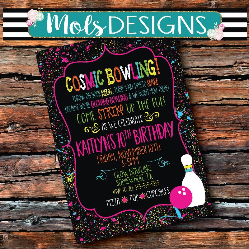 cosmic bowling invitation