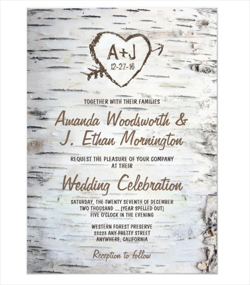 country rustic birch tree bark wedding invitation1