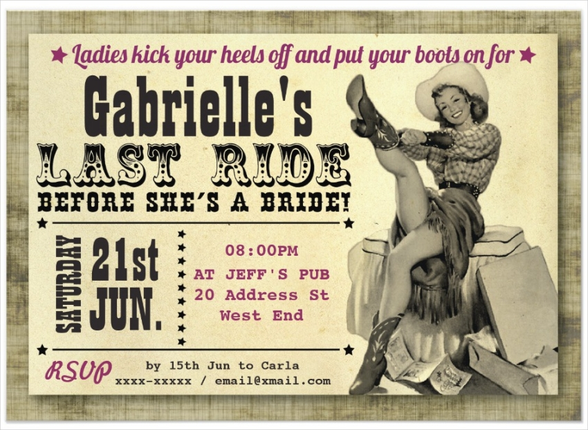 country style hens party invitation