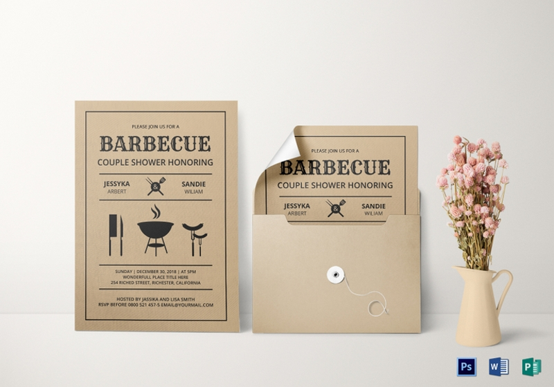 couple shower bbq invitation template