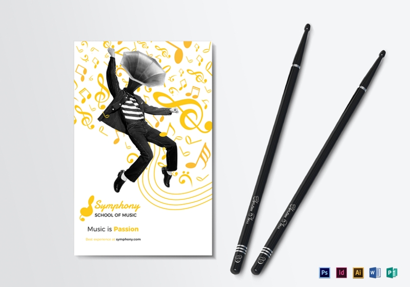 creative music bi fold brochure template