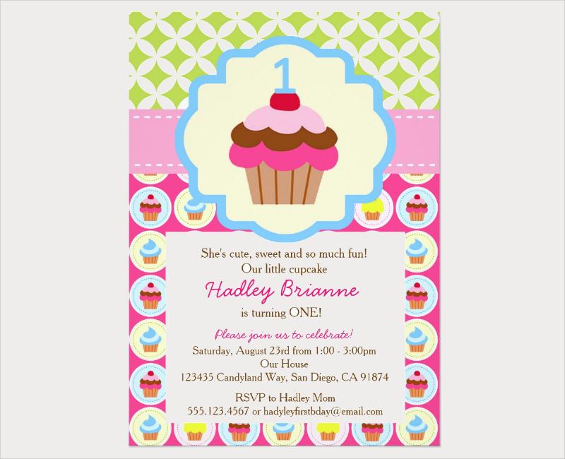 cupcake 1st birthday party invitation