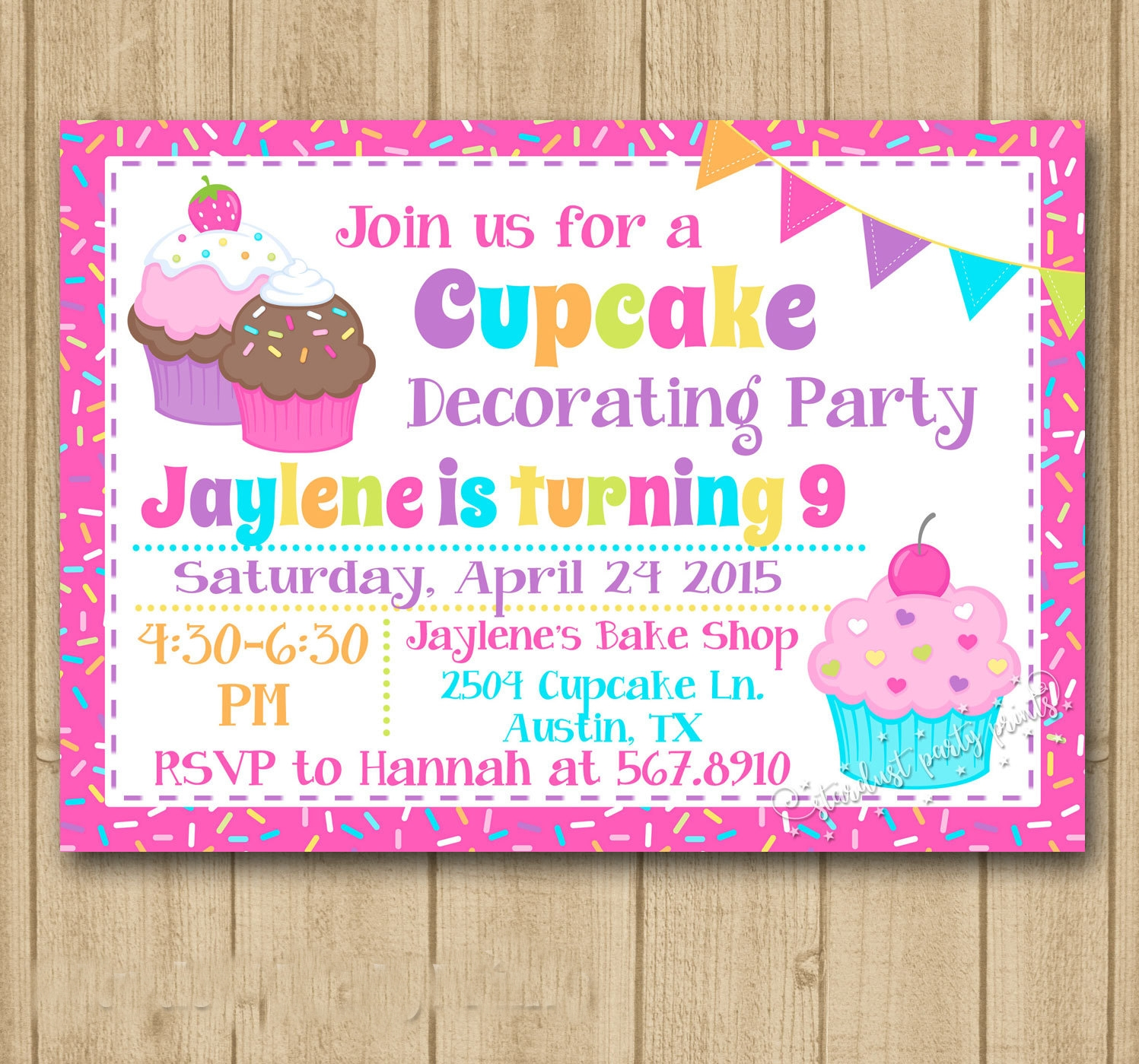 cupcake decorating birthday invitation