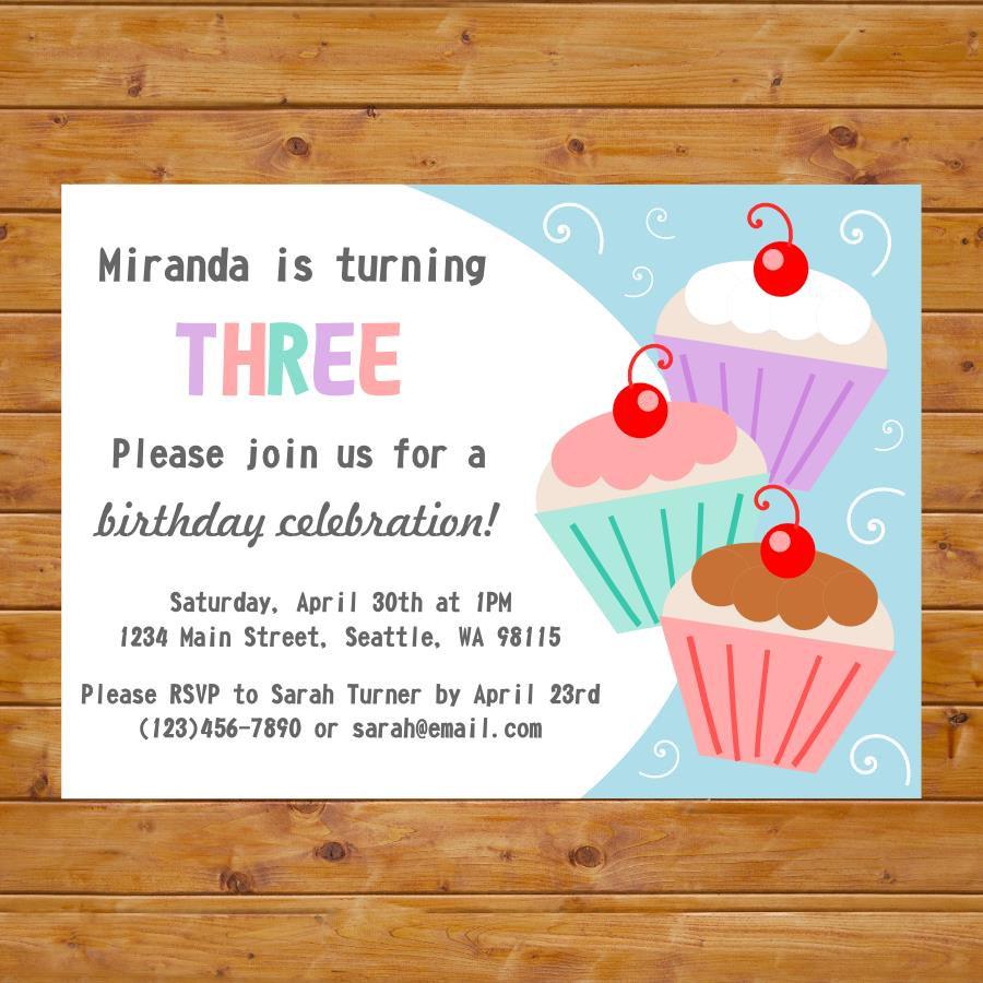 cupcake girl birthday invitation