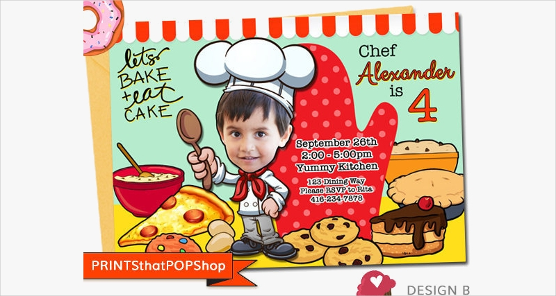 cupcake party cooking invitation