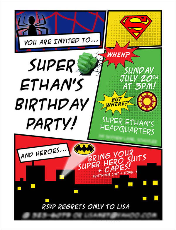 custom superhero child birthday invitation1
