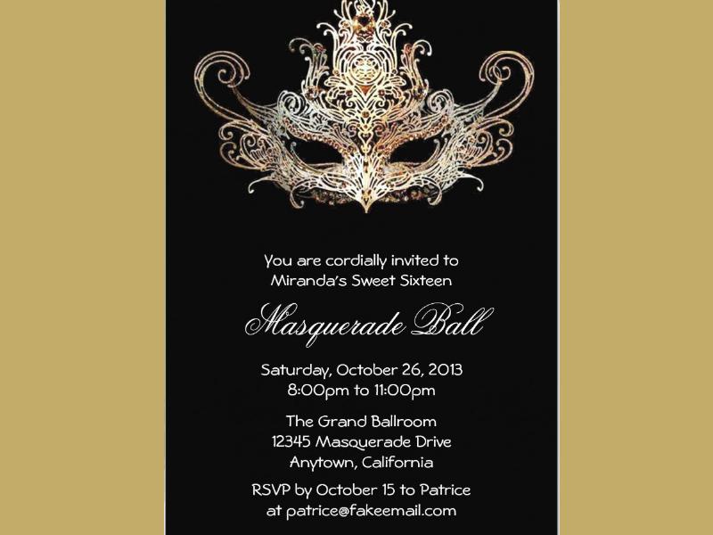 custom sweet sixteen masquerade ball invitation1